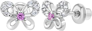 Rhodium Plated Clear Pink CZ Butterfly Screw Back Baby Earrings Toddler Kids