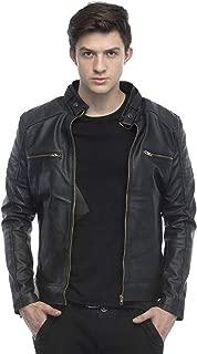 Leather Retail Black Color Designer Faux Leather Biker Jacket for Man