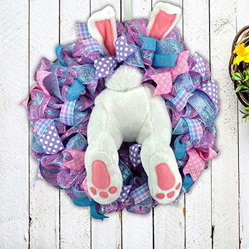 KZJIEZH Decoración de Pascua, decoración para colgar al aire libre, decoración de corona de conejo de Pascua, con orejas de dibujos animados Conejito de dibujos animados Forma de guirnalda linda Decor