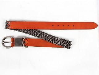 SGJFZD Men Women Bicycle Chain Style Belt Leather Belt (Color : Yellow, Size : 125cm)