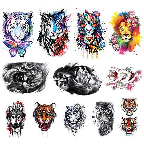 12 Sheets PADOUN Temporary Tattoos Animal Set, Big Half Arm Sleeve Tattoos, Realistic Large Wolf Tiger Lion Tattoo Stickers for Men Women Adults Girls Boys