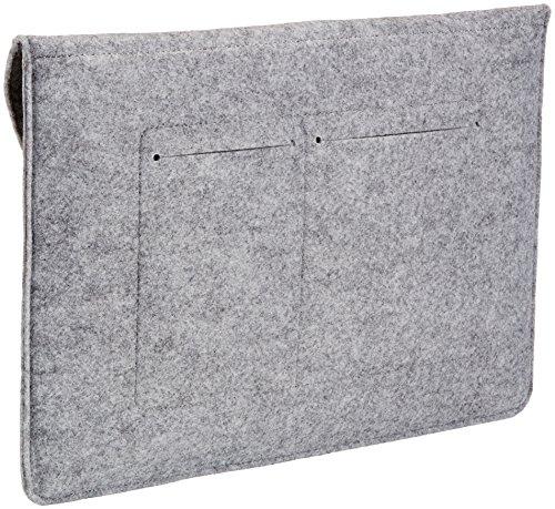 Amazon Basics Laptop-Tasche, Filz, für Displaygrößen bis 15,4 Zoll , Hellgrau