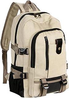 Wultia - High Quality Backpack Unisex Women Fashion Simple Double-Shoulder Canvas Backpack Schoolbag Travel Multi-Function Bags Mochila Khaki