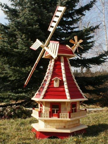 Große Windmühle mit Solar 1,30 m rot/natur Typ 3.1