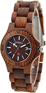 BEWELL Wood Watch for Women Quartz Analog Ladies Wristwatches with Date & Luminous Hands