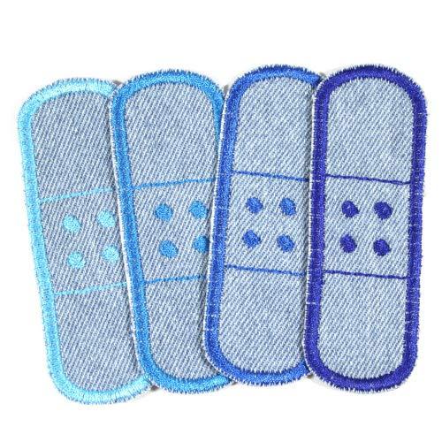 4 Bügelflicken Pflaster Jeans ca. 3 x 8,3cm Flicken hellblau Aufbügler kleine Hosenflicken zum aufbügeln