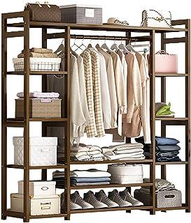 GWLGWL 3 en 1 Portant Penderie à Vêtements, Porte-Manteau en 100% Bambou avec 12 Etagères de Rangement 1 Crochets, pour Vê...