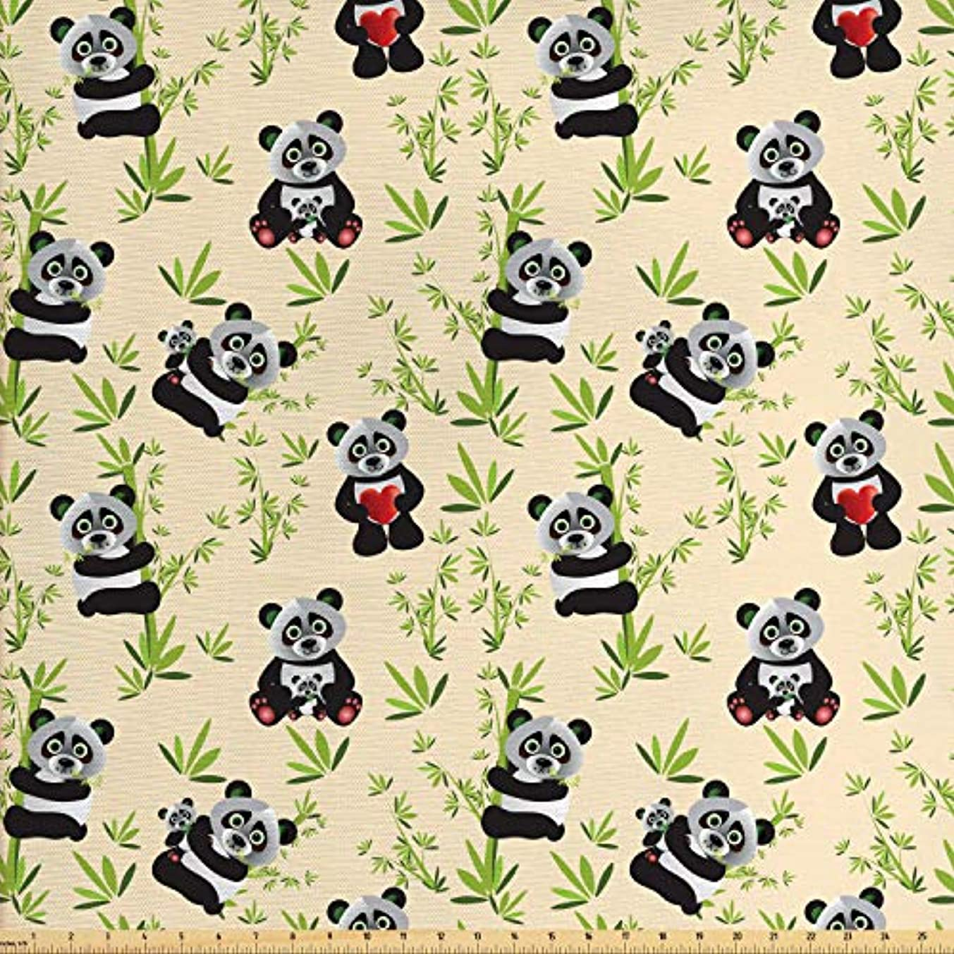 Lunarable Panda Fabric by The Yard, Big Asian Bamboo Eating Bear Chinese Cartoon Mother and Baby Wildlife, Decorative Fabric for Upholstery and Home Accents, 3 Yards, Ivory Apple Green Black