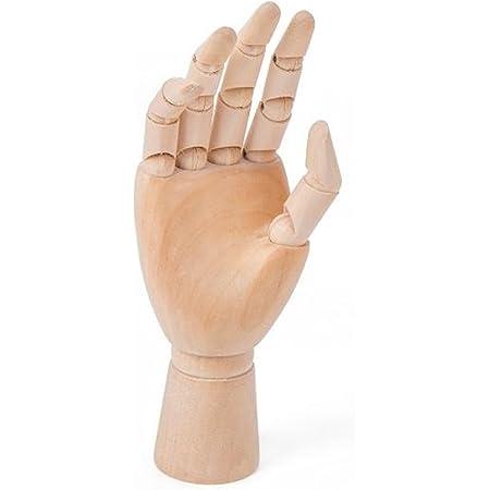 木製 デッサン ハンド モデル 手 マネキン ディスプレイ 参考デッサンカット付き (子供・右手)