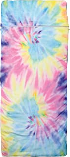 "iscream Pastel Tie Dye 70"" x 28"" Faux Sherpa-Lined Silky Silky Fleece Zippered Sleeping Bag"