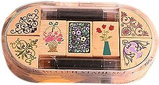 7 PCS Vase Pattern Classical Stamper&2 PCS Inkpad, Random Color