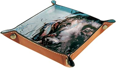 Labrador Retriever Head Leather Tray Dice Box Bedside Tray Key Watches and Candy Holder Sundries Entryway Tray,20.5x20.5cm