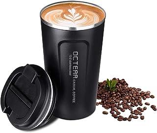 OCTERR マグカップ 保温 コーヒーカップ コンビニカップ 携帯マグ 保冷 タンブラー 真空断熱 ステンレス製 蓋付き 持ち運び 直接ドリップ プレゼントに 510ML ブラック