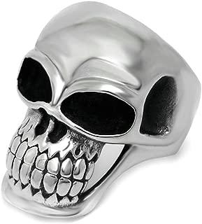 ANAZOZ Stainless Steel Customize Mens Rings Black Silver Skull Rings Punk Vintage