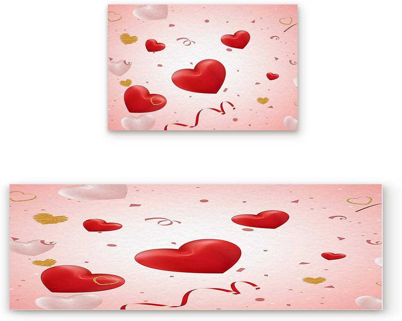 Aomike 2 Piece Non-Slip Kitchen Mat Rubber Backing Doormat Fluttering Ribbon and Heart Balloon Runner Rug Set, Hallway Living Room Balcony Bathroom Carpet Sets (19.7  x 31.5 +19.7  x 63 )