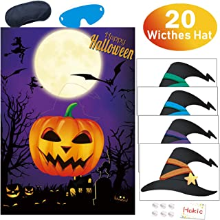 Hokic Pin The Witches Hat On The Pumpkin Halloween Game for Halloween Party Decorations Kids Birthday Party Supplies, Large Durable Halloween Pumpkin Game Poster 20 Witches Hat Sitckers