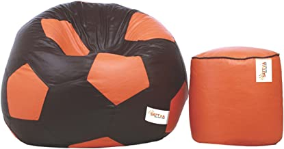 Sattva Combo Football Bean Bag Cover Brown Orange and Round Footstool (Orange with Brown Piping)