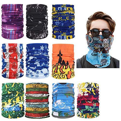 10 Pezzi Multifunzione Bandana Fascia, cappe Antivento estive/Sciarpe per la Protezione del Collo di motociclette e Biciclette, Passamontagna Protezione UV per Uomo e Donna