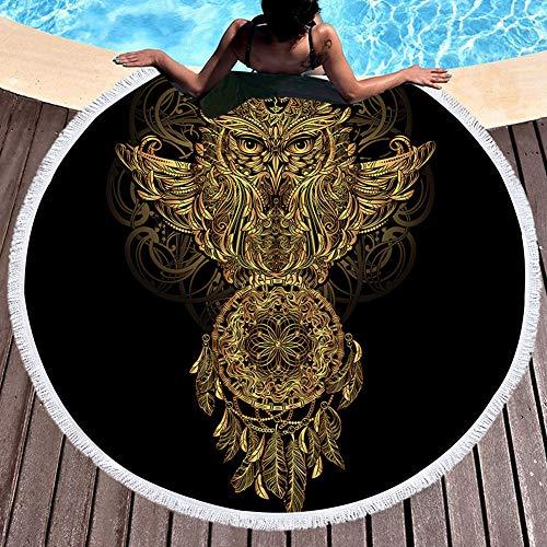 QCWN Lotus - Toalla de Playa, diseño de Mandala, Color Dorado