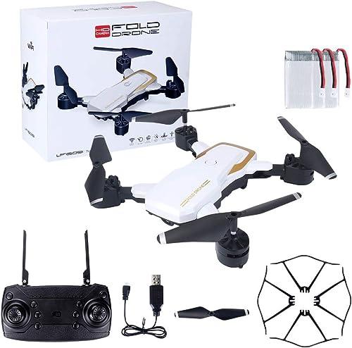 HVBYHF Faltbarer Quadrocopter mit 720P HD-Kamera und einem Knopf zum Abheben Fallen ohne Batterie für die Fernbedienung für Reisevideos,Weiß