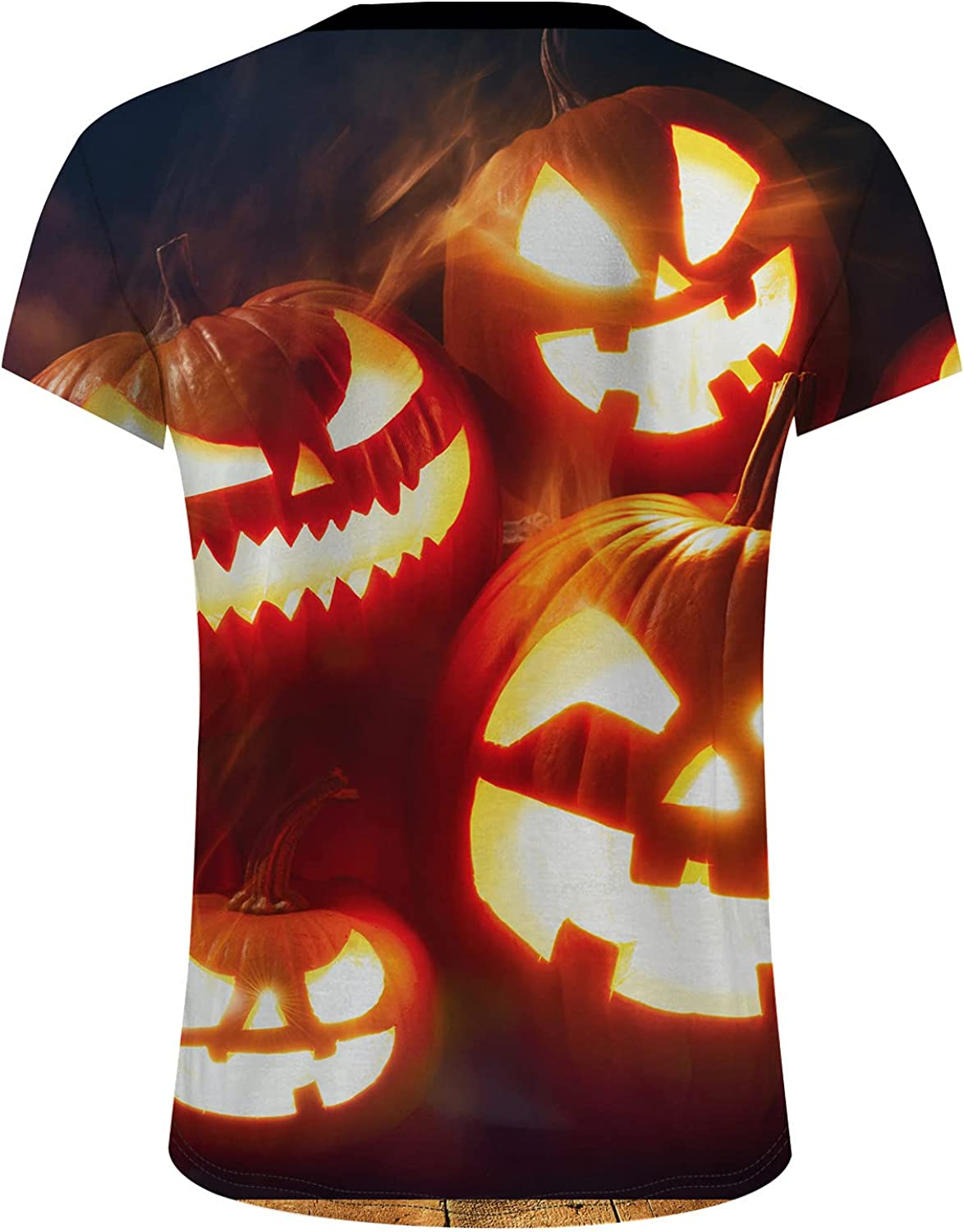XXBR Halloween Jack-O-Lantern T-shirts for Mens, Funny 3D Pumpkin Printed Round Neck Tee Tops Athletic Casual Tshirt