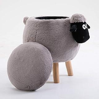 JXJ Pouf de Rangement en Peluche, rembourré de Velours Animal Mouton Pied Tabouret Pouf boîte de Rangement pour Chambre d'...
