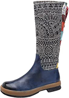 Women Embroidery Lace Shoes Bohemian Knee High Boots Rain Shoes Water Long Flat Boots