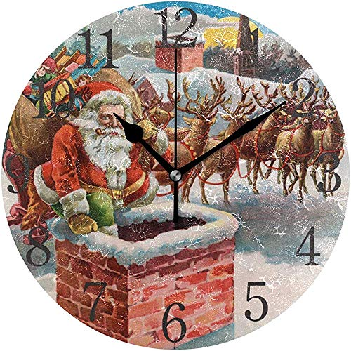Cy-ril Wall Clock Arabic Numerals Design Santa Reindeer And Sleigh On The Roof Top Round Wall Clock For Living Room Bathroom Home Decorative