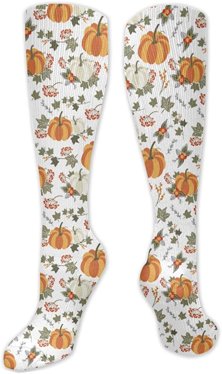 Autumn Pumpkin Design Knee High Socks Leg Warmer Dresses Long Boot Stockings For Womens Cosplay Daily Wear