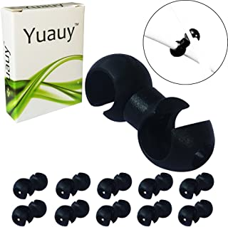 Yuauy 10 pcs Black Rotating S-Hook Clips Hook shift Cable Brake Gear Cable Housing Fixing Holder Guide Cycling Bike Bicycle MTB