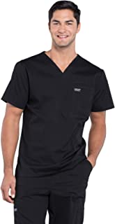 Cherokee Workwear Professionals Men's V-Neck Scrub Top, L, Black