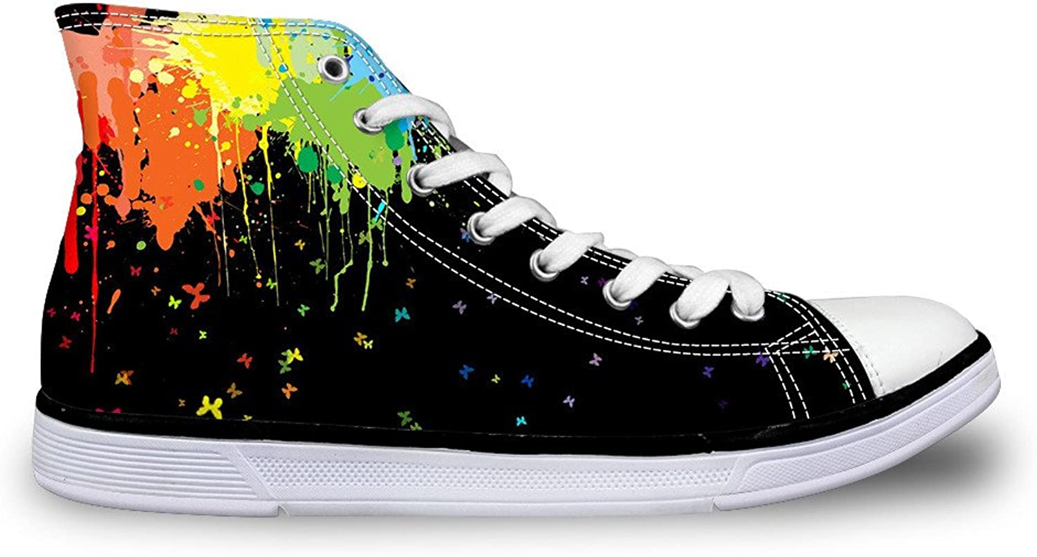 coloranimal Fashion Women High Top Canvas Vulcanized shoes Lace Up Flat Sneakers