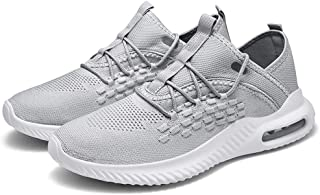 ZUAN Athletic Shoes for Men Sports Shoes Lace Up Style Mesh Corporeal Hollow Air Cushion Outsole Blithe Soft (Color : Gray, Size : 46 EU)