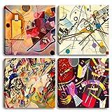 SALPIE - Decorazione Interni Quadri Piccoli Moderni Kandinsky Stampa su Tela Canvas Arte Arredo Casa Ufficio Soggiorno Salotto Cucina Camera da Letto 4 PZ (30 x 30 cm)