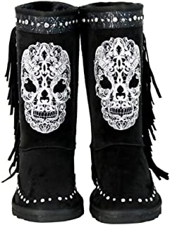 black skull boots