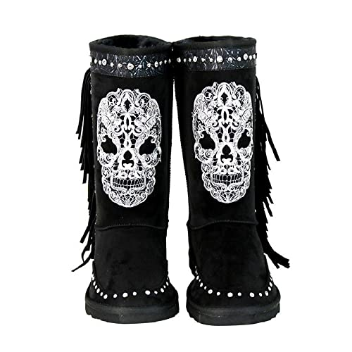 4833717a5871e Montana West Rhinestone Fringe Sugar Skull Day of The Dead Winter Boots  Gothic Biker Black