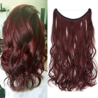 iLUU Hidden Invisible Flip on Wire in Synthetic Hair Extension 18'' Flip in Curly Hair Extensions Secret Miracle Wire Hair Piece with Fish Line Headband Long Wavy Burgundy Red 80g Halo Hair Extensions