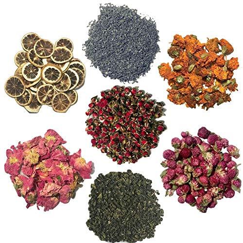 how to look PRETTY Enchanted Dried Flowers for Soap Making Kit - 7 Packs - Wild Rose Bud, Lavender, Lemon, Peony, Globe Amaranth, Lily Petal, Premium Green Tea