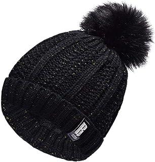 Lau's Conjunto de bufanda y gorro para niño niña, Sombreros de invierno gorros de punto y bufanda cuello con forro interior