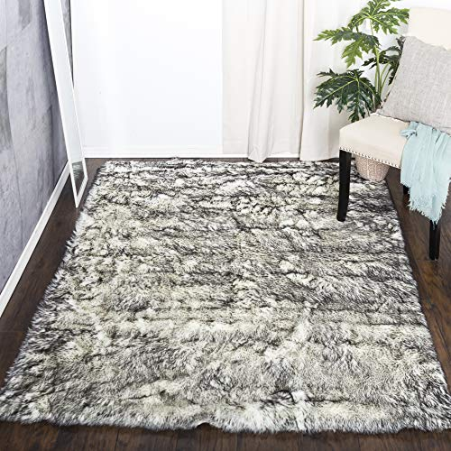Home Decorators Collection Faux Sheepskin Area Rug, 5'X8', Black