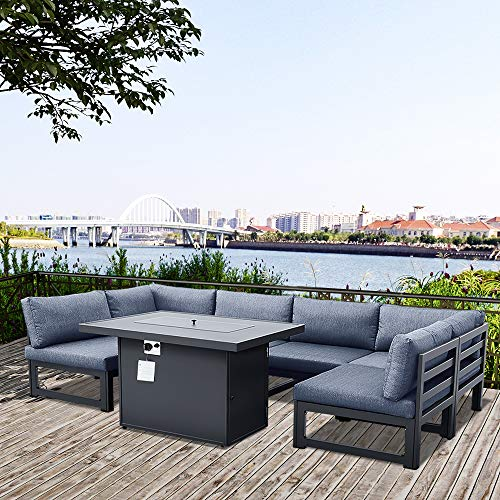 Patio Conversation Sofa Set with Gas Fire Pit Table, 7Pcs Outdoor Sectional Sofa Chair with Aluminum Frame and Back Seat Cushion for Indoor Outdoor Garden Backyard Porch Furniture Set