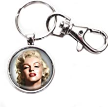 Marilyn Monroe - Silver Keychain with Glass Image, Large Lobster Claw
