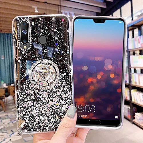 Kompatibel mit Samsung Galaxy A20S Hülle mit Diamant Ring Ständer,Handyhülle Galaxy A20S Glänzend Bling Glitzer Stern Transparent Silikon Hülle TPU Schutzhülle Case Tasche,Schwarz