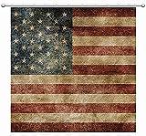 SHENGJUN Duschvorhang, amerikanische Flagge, USA, patriotische Sterne & Streifen, Unabhängigkeit 4. Juli, nationale Demokratie, rauer Holzdruck, Stoff, wasserdicht, Badezimmer, 12 Haken, 72 x 72 cm