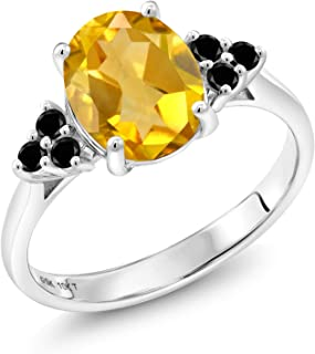 10K White Gold 1.65 Ct Oval Yellow Citrine Black Diamond Engagement Ring