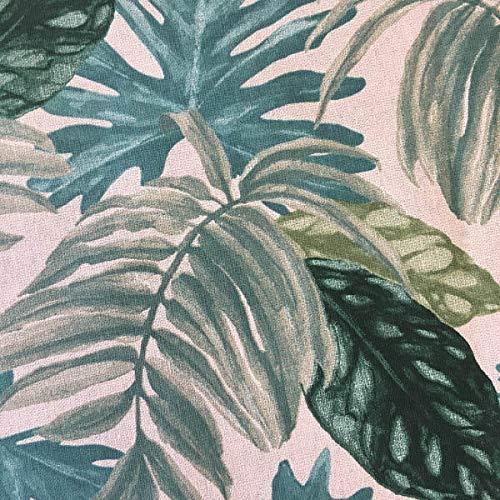 Tela por metros de loneta estampada - Half Panamá - Ancho 280 cm - Largo a elección de 50 en 50 cm | Plantas tropicales, verde