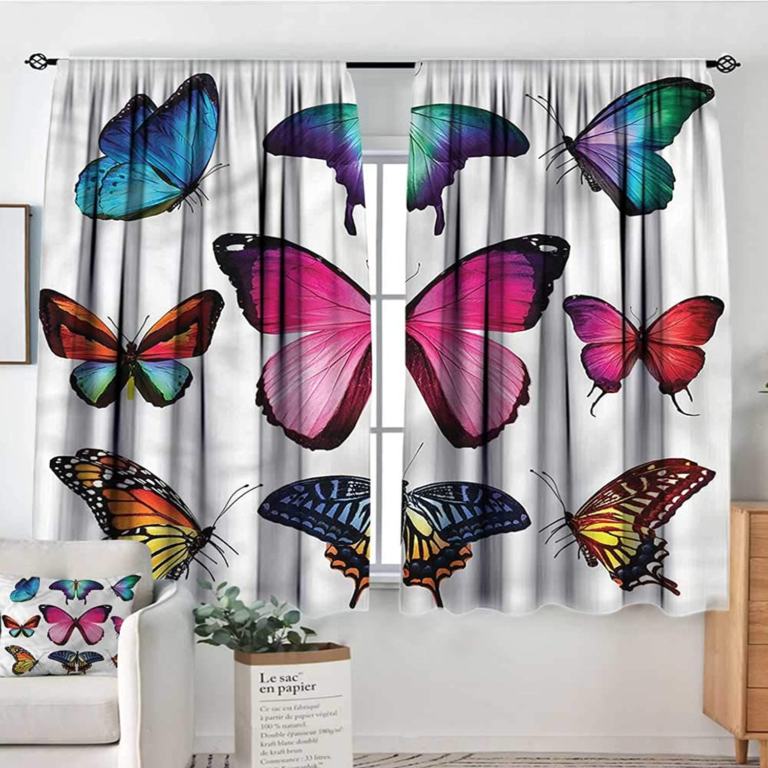 RenteriaDecor Butterfly,Girs Room Backout Curtains Various Sized Bugs Design 42 X63  Therma Insuated Curtain Panes