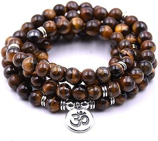 Self-Discovery 108 Natural Beads Mala Yoga Jewelry Meditation Beads Bracelet Necklace with Yoga Symbol Charm