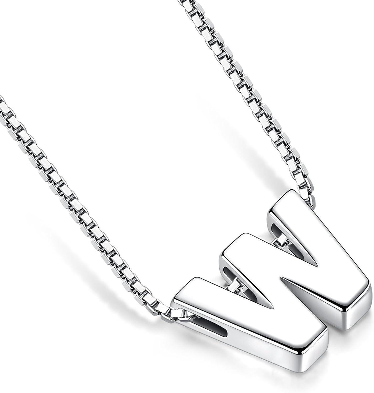 Candyfancy de Plata de Ley 925 Alfabeto de Letras Iniciales Collar Colgante A-Z para ni/ñas