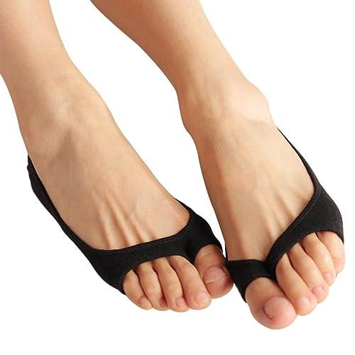 0f1352e04 NOVAWO 3 Pack Womens Peep Toe Silicone Pad Liner Socks No Show Socks